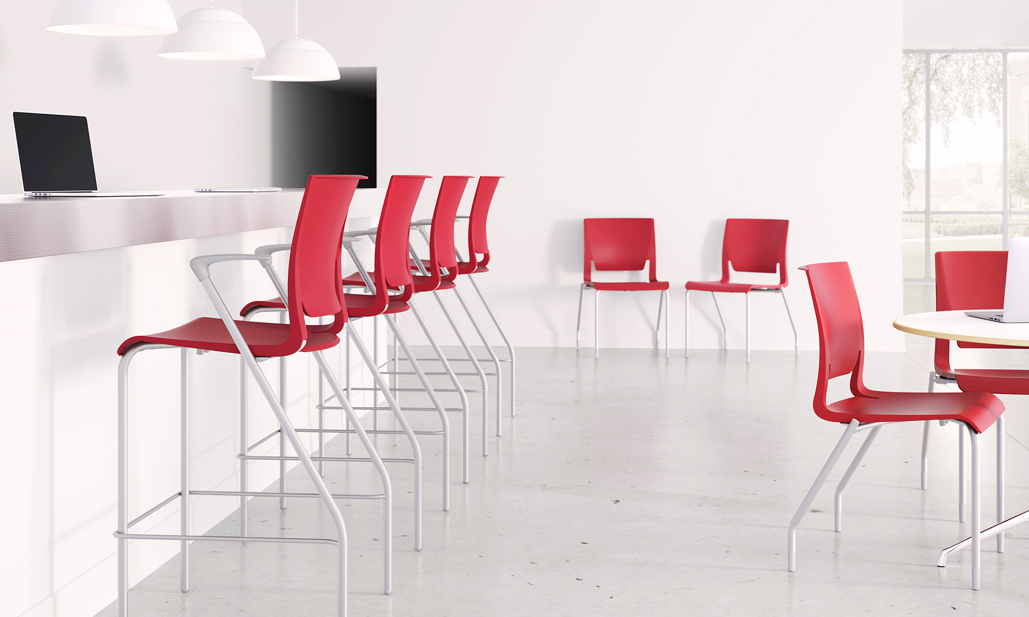 rio_stool_multipurpose_red_shell_corporate_breakroom_environment
